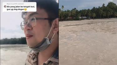 Viral Fenomena Pantai Kering Bikin Pria Ini Jalan ke Tengah Laut, Nekat Banget