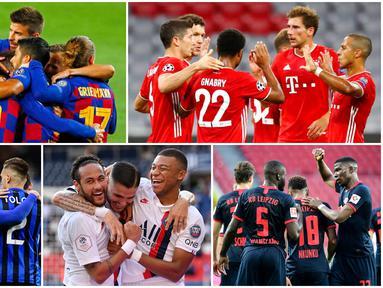 Delapan tim akan berjibaku di perempat final Liga Champions 2019-2020. Partai panas sarat gengsi akan tersaji kala Barcelona berhadapan dengan Bayern Munchen.