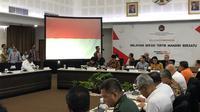 Menteri Koordinator Bidang Pembangunan Manusia dan Kebudayaan (PMK) Muhadjir Effendy memimpin rapat koordinasi tingkat menteri terkait penanganan banjir di Jakarta, Banten dan Jawa Barat.