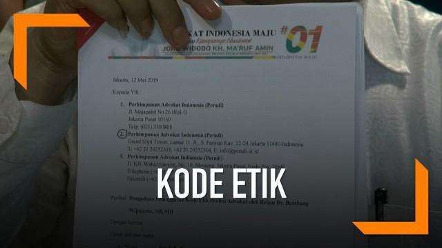 Kuasa hukum Prabowo-Sandi, Bambang Widjojanto dilaporkan ke Perhimpunan Advokat Indonesia. Ia diduga telah melanggar kode etik profesi advokat, karena menerima kuasa padahal ia masih tercatat sebagai pejabat negara.