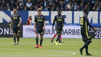 Pemain Juventus tertunduk lesu saat dikalahkan SPAL (AP)