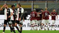 Juventus kalah 2-4 dari AC Milan pada lanjutan Serie A di Stadion San Siro, Rabu (8/7/2020) dini hari WIB. (AFP/Miguel Medina)