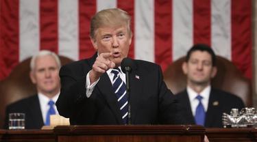 Presiden Amerika Serikat Donald Trump di Kongres AS saat menyampaikan pidato State of the Union (30/1/2018) (AP PHOTO)