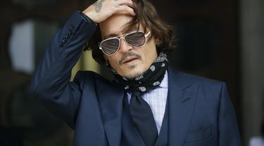 Johnny Depp 14 Juli 2020 di Pengadilan Tinggi Inggris. (AP Photo/Matt Dunham, file)