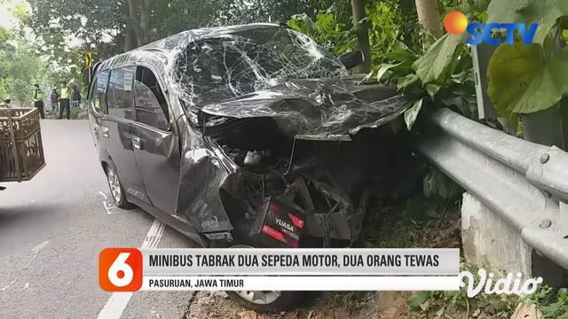 Diduga pengemudi ugal-ugalan, sebuah minibus menabrak dua pengendara motor di jalur tanjakan Kawasan Wisata Prigen, Pasuruan, Jawa Timur, Senin sore. Akibatnya, dua pengendara motor tewas, dan beberapa korban terluka.