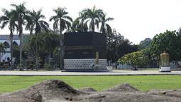 Suasana area tempat Manasik Haji di Asrama Haji, Pondok Gede, Jakarta, Kamis (25/6/2020). Tahun ini, Asrama Haji Pondok Gede tak seperti sebelumnya ketika ribuan umat muslim berkumpul untuk menerima pembekalan sebelum berangkat menunaikan ibadah haji. (Liputan6.com/Helmi Fithriansyah)
