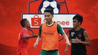 Liga 1 - Gunansar Mandowen, Hambali Tolib, Rizky Eka Pratama (Bola.com/Adreanus Titus)
