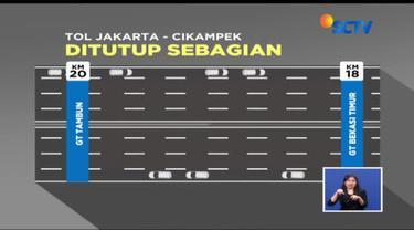 PT Jasa Marga jalan layang Cikampek (JJC) sebagai pengelola Jalan Tol Jakarta-Cikampek Elevated sejak semalam mulai menutup tiga lajur tol, baik yang ke arah Cikampek maupun ke Jakarta.