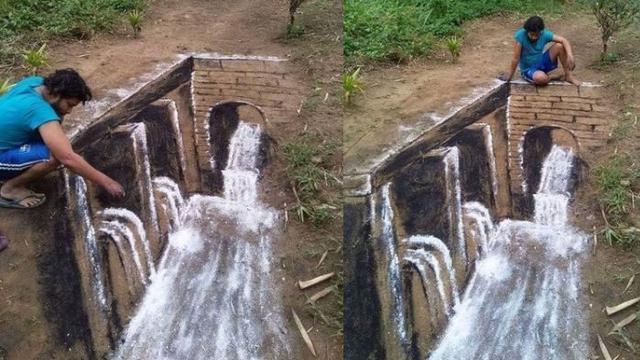 Pakai Tepung Dan Arang Pria Ciptakan Gambar 3d Di Atas Tanah
