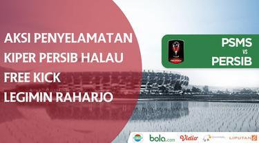 Berita video aksi penyelamatan kiper Persib Bandung, M. Natshir, menghalau free kick kapten PSMS Medan, Legimin Raharjo, dalam laga Grup A Piala Presiden 2018, Minggu (21/1/2018).