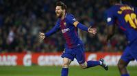 Lionel Messi merayakan gol yang dicetak ke gawang Girona. (AP Photo/Manu Fernandez)