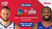 Live streaming big game NBA, Kamis (7/1/2021) pukul 19.00 WIB dapat disaksikan melalui platform Vidio. (Dok. Vidio)