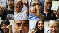 Kolase foto warga saat menunjukkan jari bertinta usai menggunakan hak pilih pada Pemilu 2019 di Jakarta, Rabu (17/4). Pemilu 2019 digelar serentak untuk memilih presiden dan wakil presiden, DPR, DPD, DPRD Provinsi serta DPRD Kabupaten/Kota. (Liputan6.com/JohanTallo)