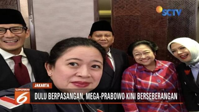 Sebelum acara debat perdana mulai, Prabowo Subianto, Megawati, Sandiaga, dan Puan Maharani swafoto bersama.