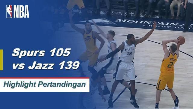 Donovan Mitchell mencetak 20 poin dan Utah Jazz menetapkan rekor waralaba untuk membuat lemparan tiga angka dengan 20, saat mereka meledakkan San Antonio Spurs, 139-105.