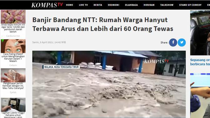 Cek Fakta Liputan6.com menelusuri klaim tidak ada stasiun Tv Indonesia yang memberitakan banjir NTT