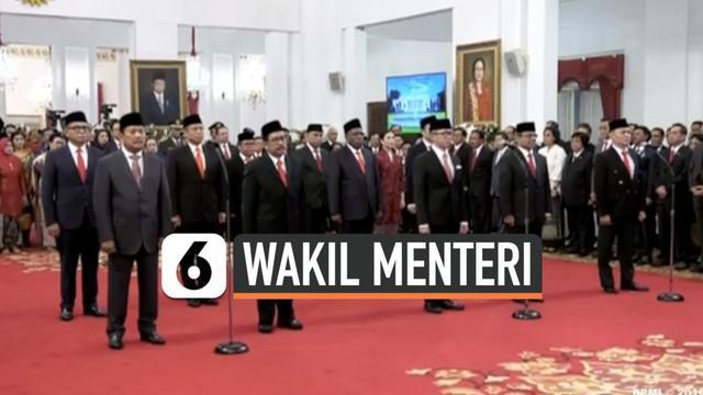 Presiden Joko Widodo atau Jokowi resmi melantik 12 wakil meteri (Wamen) Kabinet Indonesia Maju di Istana Kepresidenan, Jakarta Pusat, Jumat (25/10/2019). Pelantikan dilakukan pukul 14.05 WIB.
