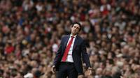Reaksi pelatih Arsenal Unai Emery pada laga Liga Inggris melawan Arsenal di Emirates Stadium, Minggu (12/8/2018). (AP Photo/Tim Ireland)