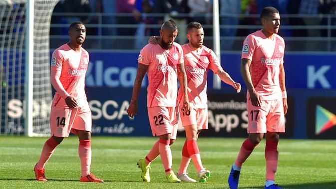 Barcelona harus puas bermain 0-0 kontra tim juru kunci, Huesca, dalam laga pekan ke-32 La Liga Spanyol, di Estadio El Alcoraz, Sabtu (13/4/2019). (AFP/ANDER GILLENEA)#source%3Dgooglier%2Ecom#https%3A%2F%2Fgooglier%2Ecom%2Fpage%2F2019_04_14%2F328682