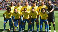 Timnas Brasil merupakan salah satu favorit juara Piala Dunia 2018. (AFP/Oli Scarff)