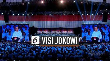 Presiden Joko Widodo sampaikan pidato visi dan misi pemerintahan lima tahun ke depan di Visi Indonesia hari Minggu di Sentul International Convention Center (SICC) Bogor, Jawa Barat, Minggu (14/7).
