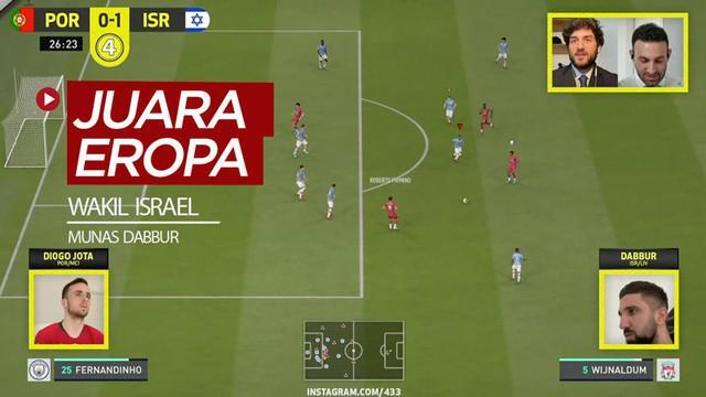 Berita video Israel, yang diwakili pemain Hoffenheim, Munas Dabbur, menjadi juara Eropa memakai tim Liverpool dalam turnamen yang digelar 433 dengan menggunakan gim FIFA 20.