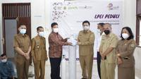 LPEI mendukung program vaksinasi di lingkungan obyek wisata di Kabupaten Samosir, Sumatera Utara. (dok: LPEI)