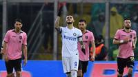 Striker Inter Milan, Mauro Icardi, saat menghadapi Palermo, pada laga lanjutan Serie A, di Stadion Renzo Barbera, Minggu (22/1/2017). (Inter Milan).