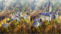 Potret puing-puing Kastil Eropa dan hasil rekonstruksi digitalnya. (Sumber: budgetdirect)