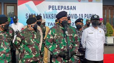 Dukung Percepatan Vaksinasi, KSALdan Rektor IPDN Lepas Satgas Vaksinasi COVID-19 Papua