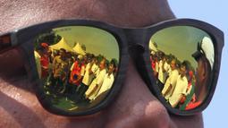 Kemenpora, Imam Nahrawi, saat memantau latihan Pelatnas panahan di Lapangan Panahan, GBK, Jakarta, Selasa (20/3/2018). Menpora mengunjungi beberapa Pelatnas untuk memastikan persiapan atlet jelang Asian Games 2018. (Bola.com/Asprilla Dwi Adha)