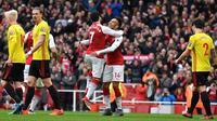 Arsenal meraih kemenangan 3-0 atas Watford pada laga pekan ke-30 Premier League, di Stadion Emirates, Minggu (11/3/2018). (AFP/Ben Stansall)