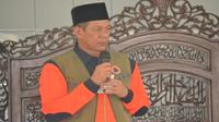 Kepala BNPB Doni Monardo menyampaikan tausiah untuk menjaga keseimbangan hubungan dengan Tuhan, manusia, dan alam pada Jumat (20/9/2019) di di Masjid Al-Amin Banturung, Palangkaraya, Kalimantan Tengah. (Dok Badan Nasional Penanggulangan Bencana/BNPB)
