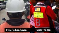 Pekerja bangunan dan Tukang ojek Thailan (Sumber: Twitter/kscps1/oknation.nationtv)