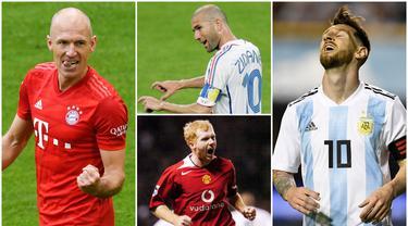 Berikut ini para pesepak bola yang sempat memutuskan pensiun namun kembali lagi ke lapangan hijau. Diantaranya adalah Arjen Robben, Paul Scholes hingga Lionel Messi. (Kolase Foto AFP)