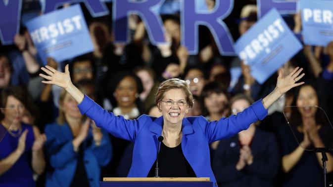Senator AS dari Partai Demokrat, Elizabeth Warren, bakal calon Presiden AS 2020 (AP PHOTO)