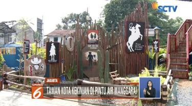 Dinas Sumber Daya Air bangun taman kota kekinian bernuansa koboy bernama Taman Robika di Pintu Air Manggarai.
