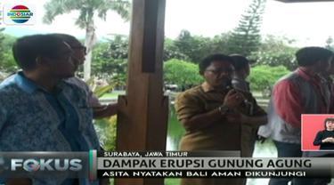 Terkait Gunung Agung meletus, Asosiasi Perjalanan dan Wisata Indonesia (ASITA) menilai Pulau Bali masih aman dikunjungi wisatawan.