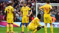 Ekspresi para penggawa Liverpool usai takluk dari Aston Villa di semi final FA Cup