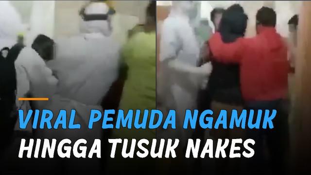 Beredar video pemuda mengamuk hingga tusuk tenaga kesehatan di RSUD Ambarawa.