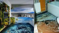 Lantai 3D jadi pilihan desain interior rumah Anda (sumber. lostateminor.com)