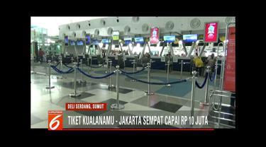Tiket pesawat terbang tujuan Medan-Jakarta tembus Rp 10 juta usai dua pekan lebaran.