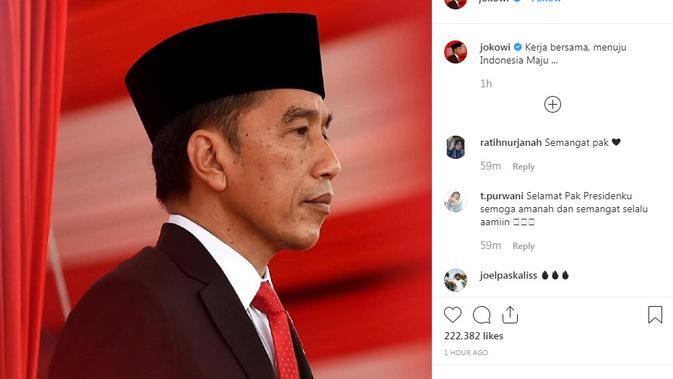 Gambar tangkapan layar instagram Presiden Jokowi