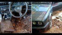 Lantai mobil yang keropos disemen (Facebook/Muhammad Hanafi)