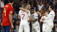 Timnas Inggris berhasil mengalahkan Spanyol 3-2 dalam laga lanjutan UEFA Nations League 2018. (AP Photo/Miguel Morenatti)