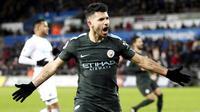 Sergio Aguero - Bomber asal Argentina ini merupakan pencetak gol terbanyak sepanjang sejarah Manchester City. Sejauh ini Aguero telah menorehkan 122 gol dan 28 assist dari 178 pertandingan di semua ajang. (AP/Nick Potts)
