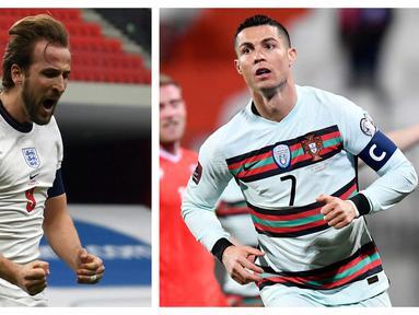 Putaran final Piala Eropa 2020 segera dimulai pertengahan Juni nanti. 24 negara telah lolos melalui seleksi di fase kualifikasi. Tercatat para striker tajam telah menunjukkan kualitas terbaik dengan gol-golnya. Berikut 5 striker tertajam di fase kualifikasi. (Kolase Foto AFP)