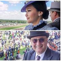 Maia Estianty dan Irwan Mussry saat menyaksikan Royal Ascot, arena pacuan kuda di London, Inggris (Bintang Pictures)