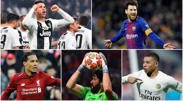 Berikut ini formasi 11 pemain terbaik FIFA 2019. Masih ada nama Lionel Messi dan Cristiano Ronaldo. (Foto Kolase AP dan AFP)