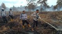 Polisi memadamkan kebakaran di lahan gambut (Liputan6.com/M Syukur)